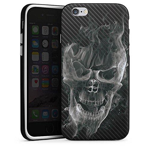 Apple iPhone 7 Silikon Hülle Case Schutzhülle Totenkopf Carbon Smoke Silikon Case schwarz / weiß