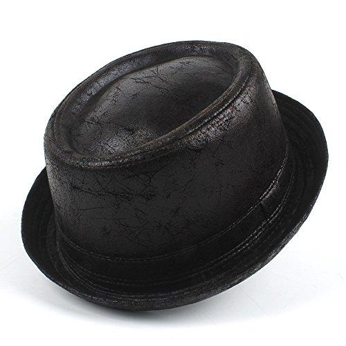 HHF Caps y Sombreos Para caballero Jugador de bolos Sombrero de copa grande Tamaño Dropshipping Vintage cuero pastel de cerdo Fedora Hat Hombres Boater Flat Top Hat