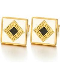 10MM Color Oro Cuadrados Pendientes con Negro Blanco Esmalte de Hombre Mujer, Aretes, Acero Inoxidable, 2 Piezas