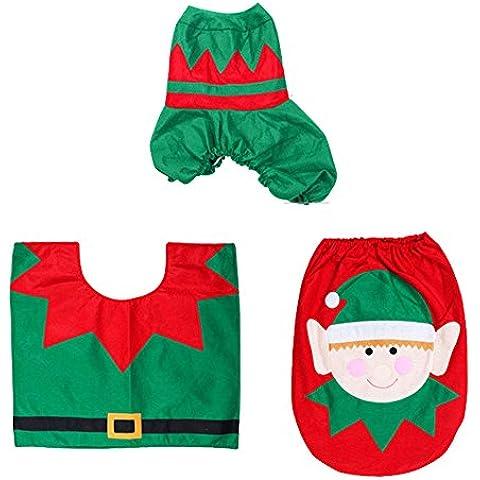 Aseo decorativo de la Navidad Set - 3pcs Happy Holiday espíritu de la Navidad del asiento de tocador cubierta Alfombra de baño Set Juegos de WC / Creatividad / caliente diseño decorativo de Navidad Conjuntos de WC,Espíritu