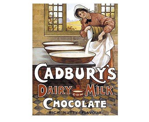 Cadbury de produits Laitiers Chocolat au Lait rétro style shabby chic style vintage Photo plaque murale en métal (280 mm X 200 mm)