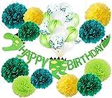 Dinosaurier Alles Gute zum Geburtstag Dekorationen Kit Dino Dschungel Jurassic Garland Banner grüne Konfetti Ballons für Kinder Dinosaurier Geburtstag Party Supplies