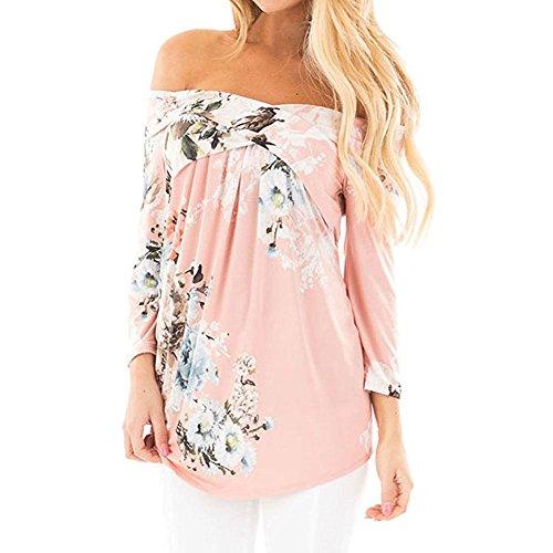 Zhaoyun Daman Aus Schulter Blumendruck 3/4 Ärmel Blusen Casual Tunika Tops T-Shirt Bluse, Rosa1, DE 48 (Tunika Crinkle Seide)