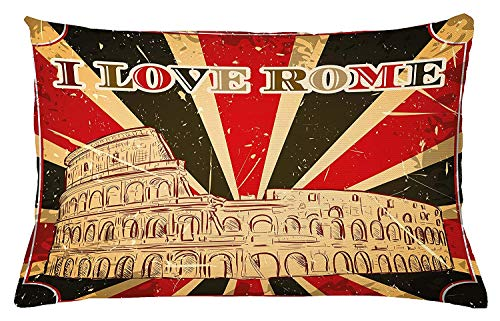 illow Cushion Cover, I Love Rome Lettering with Circus Tent and Bold Stripes Ancient Print, Decorative Accent Pillow Case, 18 X 18 Inches, Red Dark Green and White ()