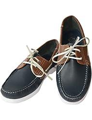 Color ocasional barco zapato masculino de cuero Beverly originales para hombre, Farbe:navyblau / braun;Größe:44