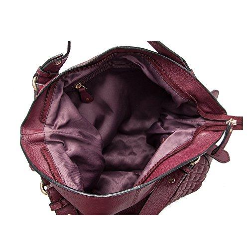 Zerimar Damen-Umhängetaschen   100% Lederqualität   Handtasche für Frauen   Grosse Handtasche   Klein Handtasche Maßnahmen: 32x28x11 Burgund