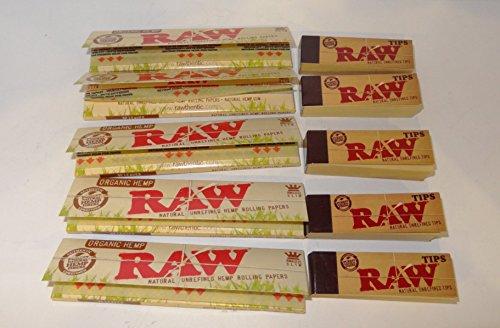 5 Packungen à RAW Organic Hemp Zigarettenpapier, King Size Slim und Tipps