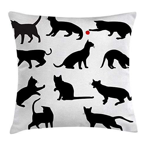 Jolly2T Cat Throw Pillow Cushion Cover, Silhouette of Kittens in Various Postures Playing Red Ball Animal Pet Paw Print, Decorative Square Accent Pillow Case, 18 X 18 Inches, Vermilion Black