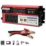 LIMEID 1500W KFZ Reiner Sinuswellen-Wechselrichter, Spannungswandler 12V / 24V Zu 220V / 110V, 2 Steckdosen, 4 USB-Ports, LCD-Display, Outdoor-Reise UnerläSslich (Peak 3000W),12V-110V