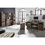 Büromöbel Set mit Schreibtisch 2x Highboard Kommode Tastatureinzug, Ablageboden u. Aufsatzregal