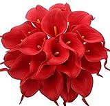 20 Kunstblumen von Amkun, Zantedeschien aus Latex, lebensechter Brautstrauß, auch für zu Hause oder als Partydekoration geeignet rot