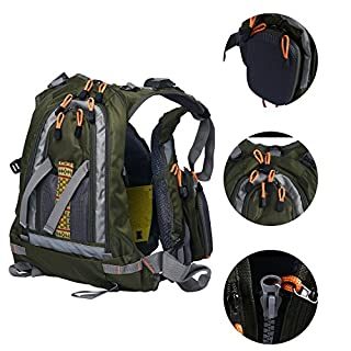 Amarine-made Fly Fishing Backpack Adjustable Size Mesh Fishing Vest Pack, Fly Fishing Vest and Backpack Combo-D77 (Army green)