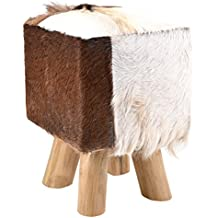 Moycor 9490102 - Taburete cuadrado de piel de cabra con 4 patas