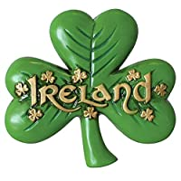 Carrolls Irish Gifts Antique Magnet Of Large Shamrock And Gold Ireland Text And Small Shamrock Design