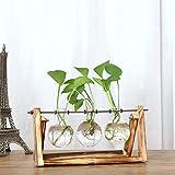 Jarrón de cristal con soporte de madera maciza retro, soporte giratorio de metal para plantas hidropónicas, decoración para el hogar, jardín, boda, Retro wood+3 bulbs, 6.3X11.5X4.9''
