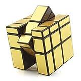 HJXDtech-Shengshou Irregular 3x3x3 Espejo Cubo mágico Profesional Liso Racing Cube (Oro)