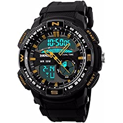 Unitedeal New Brand Box Men's Teenagers Multifunctional Outdoor Running Sports Waterproof Dual Time Digital Chronograph Wrist Watch Gold