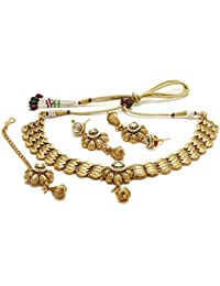 Jewels Galaxy Traditional Handcrafted Golden Necklace Set