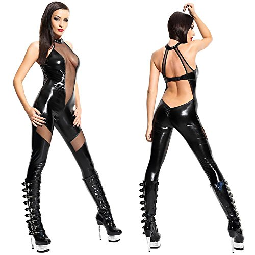 YX Sexy Catsuit Leder Wetlook DessousSprunganzug Seite hohl -