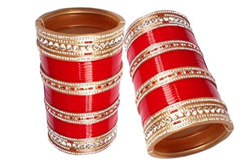 8. Top Quality Zircon Stone Red/Mahroon/Golden/White Designer Wedding/Engagement Punjabi Suhag Chuda, Bangle Set of 60 For Women Designed By VIVAH BRIDAL CHURA