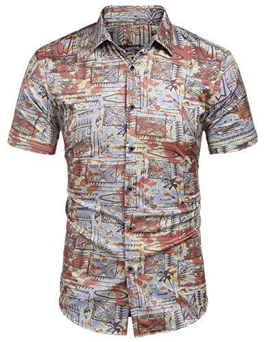 MAXMODA Herren Hawaii Hemd Männer Kurzarmhemd mit Floralem Muster