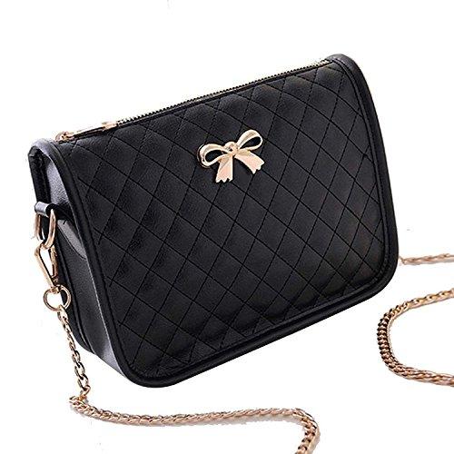 Minetom Borsa a tracolla in pelle artsy borsa donna,Messenger Bag, Bowknot Cross Body Bag, Shoulder Bag or Handbag ( Nero )