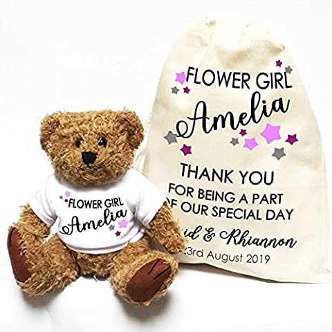 Personalised wedding teddy bear Little Stars Flower Girl and Gift Bag