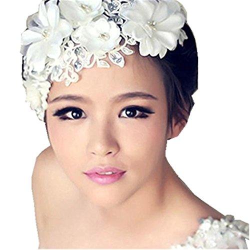 Bijoux De Tete, Kolylong Bijoux Cheveux Mariage Floral Dentelle perle Casque Épingle à cheveux (Longueur: More Than 26cm, Blanc)
