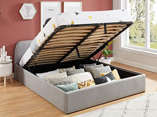 HOMIFAB Lit Coffre scandinave 160x200 Gris Clair avec tête de lit + sommier à Lattes - Collection Lena