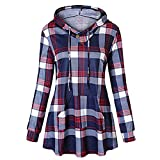 Bovake Damen Slim Fit Sweatshirt Mit Kapuze Parka Women Lang Abschnitt Winter Gitter Shirt Warm Outwear Coat Freizeit Jacke Oberteil Casual Pullover Tops