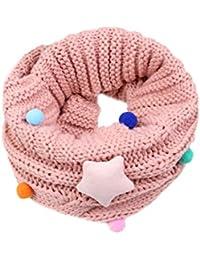 MILEEO Écharpe mignon pour enfant et bébé Laine tricotée Tour de cou Foulard Étoile Collier chaud d'automne et d'hiver pour 4-14 Ans Enfants