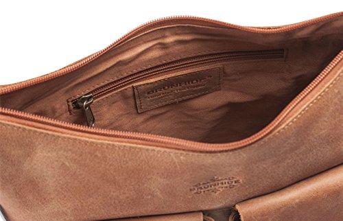 Brunhide - Cartable en bandoulière - cuir de buffle/deux grandes poches à l'avant - # 155-300 Fauve