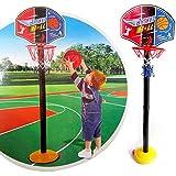 Lorenlli Regalo de los niños Soporte de baloncesto Ajustable Deportes al aire libre para interiores Juego de juguetes de aro de baloncesto portátil Soporte Bola Tablero trasero Kit