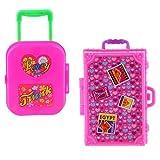Zeagro Miniatur-Koffer, aus Kunststoff, für Barbie-Puppenhaus, Dekoration, Zubehör, Rosa, 2 Stück