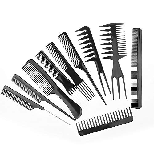 McNory 10pcs Peine Profesional Peluquero Accesorio de Peluquería Barberia Peine de Pelo cabello Conjunto de Peine 10 Piezas Negro