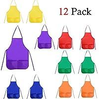 Hemore Delantal para niños, Un Conjunto de 12 Piezas con 6 Colores Delantales de Textil