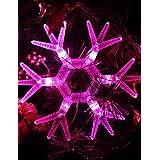 Dngy*Rosa con forma de copo de nieve LED Luz Lámpara de cadena para Navidad (3xAA)
