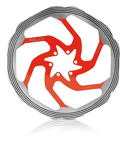 XLC Unisex- Erwachsene Bremsscheibe BR-X58 CNC Reibring, Silber, Rot, One Size -
