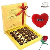 De'Arco Chocolatier Valentine chocolate for girlfriend, Valentine Chocolate for boyfriend, Valentines Day Gift Hamper, Premium Valentine Chocolate, 265g + FREE - Furr Heart and Rose