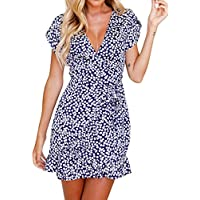 Summer Dress Womens Floral Print Short Sleeve Vintage Dress Ladies Evening Party Beach V Neck Mini Dress (S, Blue)