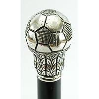 Bastone da passeggio pallone calcio regalo peltro e legno elegante colore argento vintage per uomo e per donna Cavagnini ( incidiamo le tue iniziali) personalizzalo