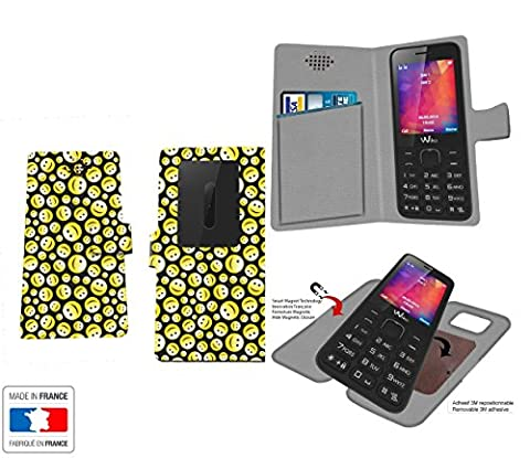 Etui INNOVANT Wiko Riff 2 Smiley seamless Collection Pattern avec rangement interne PORTE CARTE - Housse de protection Wiko Riff 2 avec fixation adhesive repositionnable 3M - Pochette Case Industry