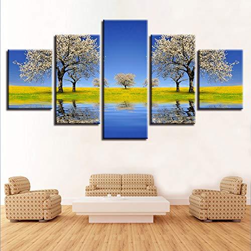 ASDZXC Wand Kunst Gemälde Gedruckt Decor 5 Stücke Schöne Birne Blume Baum Fluss Und Grün Gras Bereich Landschaft Modulare Leinwand Bilder -
