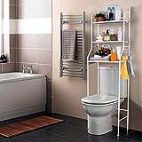 T-LoVendo 1 Estanteria sobre Inodoro WC Lavadora Ahorra Espacio Almacenamiento Cuarto Baño, Blanco, 165 x 55 x 25 cm