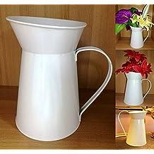 TriEcoWorld Jarra de francés estilo Shabby Chic Vintage de flores decoración para el hogar Metal hierro acero lata boda jarrón regalo color blanco