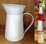 TriEcoWorld brocca stile francese shabby chic vintage fiori decorazione domestica ferro metallo acciaio latta regalo di nozze vaso bianco