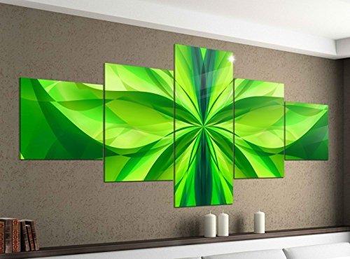 Leinwandbild 5 tlg. 200cmx100cm 3D Effekt Blume grün Spirale Hintergrund abstrakt Kunst Textur Muster Bilder Druck auf Leinwand Bild Kunstdruck mehrteilig Holz 9YA609, 5Tlg 200x100cm:5Tlg 200x100cm
