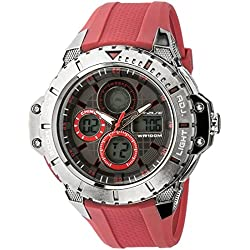 702-180 UphasE-Up Men's Watch Analogue and Digital Quartz Red Plastic Strap