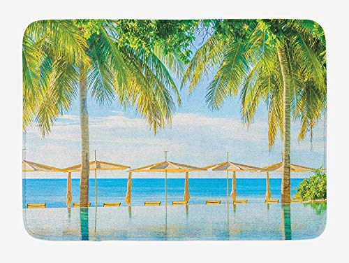 LULABE Landscape Bath Mat, Exotic Beach with Pool Nature with Soft Sun Rays Fantastic Holiday Theme Print, Plush Bathroom Decor Mat with Non Slip Backing, 23.6 W X 15.7 W Inches, Green Blue
