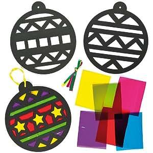 Palline di Natale effetto vetro colorato per bambini (confezione da 6)